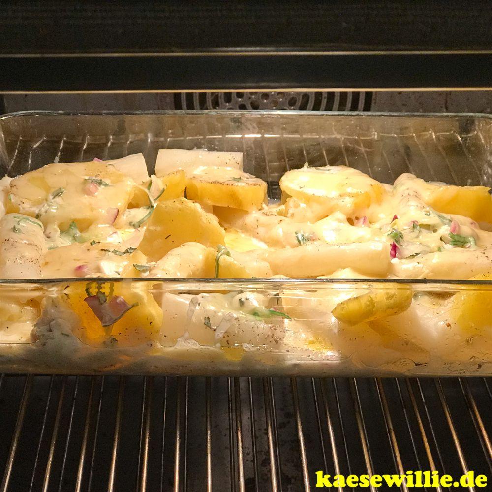 Spargel-Kartoffelauflauf mit Estragon